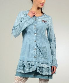 Another great find on #zulily! Blue Ruffle Trim Coat #zulilyfinds