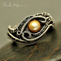 Gold Pearl Wire Woven Evil Eye Ring from Nicole Hanna Jewelry