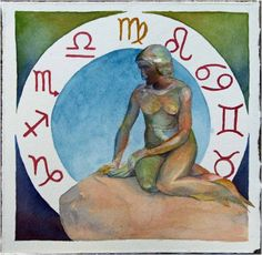 Zodiac Mermaid (c) #watercolor by Frank Koebsch; 21 x 21 cm, $270; More information about the Zodiac can be found at http://frankkoebsch.wordpress.com/2011/10/14/sternzeichen-meerjungfrau-%c2%a9-aquarell-von-frank-koebsch/