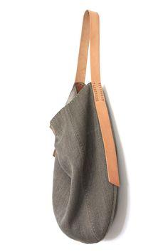Handmade Belgian Linen Slouch Bag - Hedgehog + Morel #handmadebag
