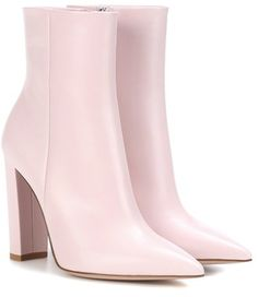 Leather ankle boots are a wardrobe staple and the Piper pair from Gianvito Rossi are topping our wishlist. The light pink hue is perfect combined with the chunky heel and pointed toe. Leather Ankle Boots, Heeled Boots, Shoe Boots, Wedge Shoes, Shoes Heels, Pink Shoes, Best Basketball Shoes, All About Shoes, Formal Shoes