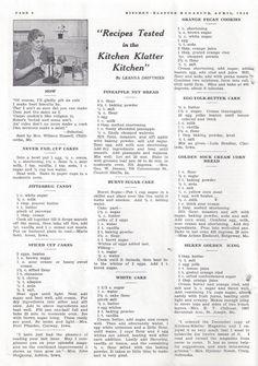 Kitchen Klatter Magazine, April 1940 - Never Fail Cupcakes, Jitterbug Candy, Spiced Cupcakes, Pineapple Nut Bread, Burnt Sugar Cake, White Cake, Orange Pecan Cookies, Egg Yolk Butter Cake, Golden Sour Cream Corn Bread, Silken Golden Icing