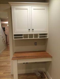 custom built in desk in kitchen, cherry top - the start of something newwwww