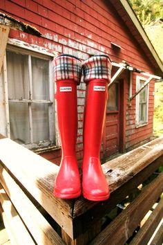 christmasinjuly SALE SLUGS Fleece Rain Boot Liners Black With A Plaid Pattern Cuff, Fleece Socks, Hunter Boot Socks (Med/Lg 9-11 Boot). $20.00, via Etsy.
