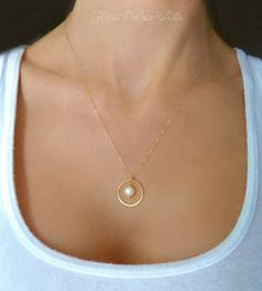 Gold Circle Necklace - Freshwater Pearl Dangle Necklace - Gold or Sterling Silver Gold Circle Necklace, Hamsa Necklace, Dainty Diamond Necklace, Infinity Necklace, Monogram Necklace, Diamond Earrings, Dainty Earrings, Good Luck Necklace, Heart Choker