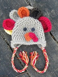 This is too precious ~ Thanksgiving Turkey Crochet Earflap Hat