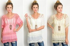 CROCHET TUNICS Cute tops for spring and summer! 43% OFF