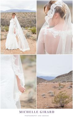 Classic Bride with Lace Dress with Sheer Detailing, a Traditional Lace Veil :: Bride Romantic Portrait :: Cloudy Desert Day :: Classic Wedding Gown with Sheer Details and Cathedral Lace Veil :: Southwest Desert Wedding in Nevada outside of Las Vegas :: Michelle Girard Photography and Design