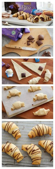 Chocolate Filled Crescents Rolls Recipe - never thought to make sweet crescent rolls before Crescent Roll Recipes, Crescent Rolls, Just Desserts, Delicious Desserts, Yummy Food, Dessert Drinks, Dessert Recipes, Chocolate Filling, Dessert Chocolate