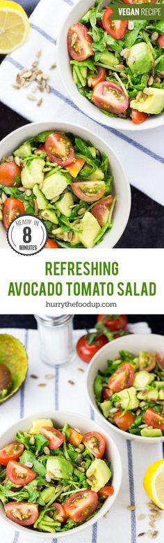 Refreshing Avocado Tomato Salad (8 mins) #salad #vegan #avocado | hurrythefoodup.com