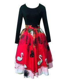 Look what I found on #zulily! Black & Red Flamingo Dress #zulilyfinds