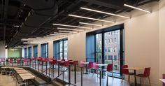Edge Lighting's LED installation serves as the design focal point illuminating the corridors of Chicago's newly renovated Merchandise Mart, one of the largest commercial and office buildings in the country, and viably the world's largest resource for interior design. Cirrus Suspension luminaires provide inspiration in the food court for the creative community at the historic building. Linear lighting solutions from Edge Lighting match the bold, geometric shapes of the iconic property.