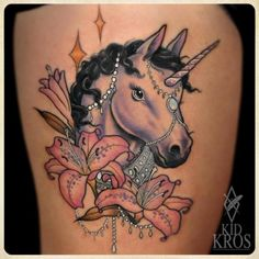 unicorn tattoo designs | Fantasy Unicorn Flower Tattoo by Kid Kros
