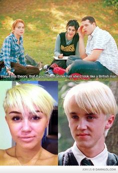 Harry Potter + Mean Girls + Miley Cyrus = Hilarious.  I tried explaining this joke to my dad. Didn't quite work