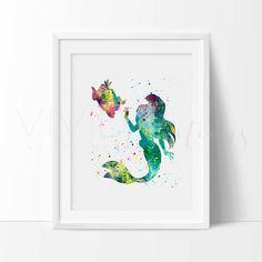 Little Mermaid Print, Disney Ariel Watercolor Art, Baby Girl Mermaid Nursery Art Print, Girls Bedroom Wall Art, Christmas Gift, No. 62 by VIVIDEDITIONS on Etsy https://www.etsy.com/listing/216903589/little-mermaid-print-disney-ariel