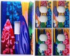 Surf Boards Girls light switch covers Set Of 5 Kids Boys Bedroom Wall Decor  #Leviton