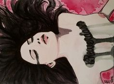 ¿Recuerdas?   Watercolor illustration painting gothic girl crying black long hair recuerdos memories