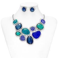 Geometric Necklace Earrings Set