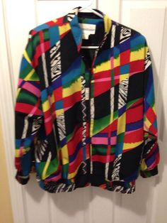 brenda goode jacket zip front bright multi colors geo pattern large mint #80s vtg from $19.99
