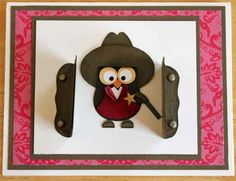 """Owl Sheriff by Beth. Uses the Stampin' Up """"Owl Builder"""" punch. Boy Cards, Kids Cards, Cute Cards, Scrapbooking, Scrapbook Cards, Scrapbook Albums, Owl Punch Cards, Paper Punch Art, Owl Card"""