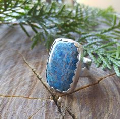 Azurite and Sterling Silver Cocktail Ring. Rectangular Blue and Brown Stone. Layered Wide Ring Band. Scalloped Ring Face. US Size 8 by QuietTimeJewelry on Etsy