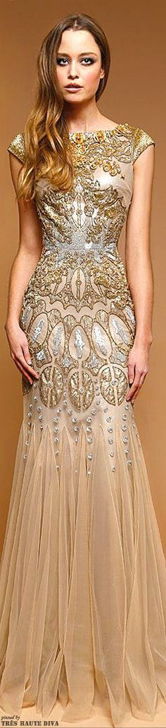 Badgley Mischka Pre-Fall 2014 Apricot and Cream Gown.....†.....❥sslcj❥♐︎
