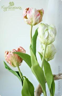 Поделка изделие Флористика Лепка Попугайные тюльпаны Холодный фарфор Керамическая флористика Фарфор холодный фото 2