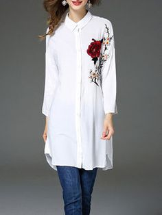 White V neck Long sleeve H-line Casual Embroidery Cotton-blend Blouse Look Fashion, Hijab Fashion, Fashion Outfits, Womens Fashion, Fashion Design, Embroidery On Clothes, Hijab Style, Silk Midi Dress, Blouse Designs