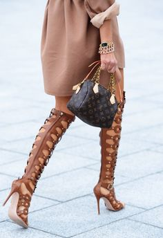 Lace up sandals biggest shoe trend spring/ summer 2015. Fabulous combo with the gold and beige!