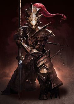 1boy armor artist_request chainmail dark_souls dragon_slayer_ornstein full_armor helmet highres kneeling knight plate_armor polearm solo souls_(from_software) spear weapon