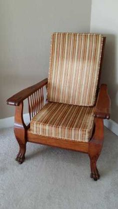 Antique Oak Morris Chair With Claw Feet 1900u0027s $500.00 & Vintage Hitchcock Stlye Ladderback Side Chairs | Our antiques - misc ...