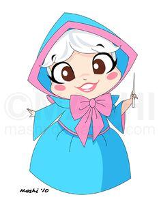 """Chibi *Fairy Godmother*  [""""Cinderella"""" (1950)]~[Artistic work by *mashi (Wendy Chew) on deviantART  June 2011]    'h4d'120905"""