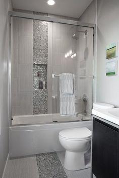 LOVE the shower/tub Tile! Urban Farmhouse Master Bathroom Remodel (60)