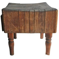 Antique Butcher Block Table $2500 | From a unique collection of antique and modern primitives at https://www.1stdibs.com/furniture/folk-art/primitives/