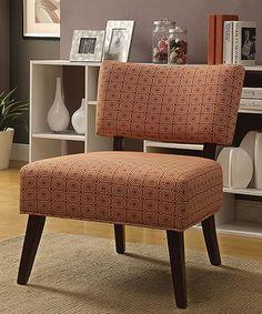 Look what I found on #zulily! Orange & Espresso Able Accent Chair #zulilyfinds