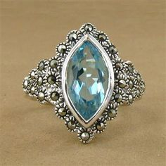 Marcasite and Blue Topaz Marquise Ring.  $99.50 #jewelry