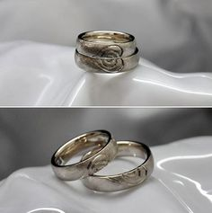 Eheringe oder Partnerringe in Weissgold mit einer interessanten Herz-Gravur. Wedding Rings, Engagement Rings, Pretty, Jewelry, Heart, Silver, Enagement Rings, Jewlery, Jewerly
