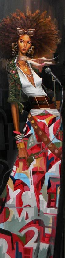 I love frank morrison's pattern usage. I love his complimentary colored outfit. (green and red) I love seeing black women, in art, in there natural hair state.