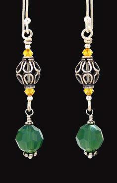 Fern green Swarovski crystals & sterling.