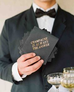 23 Cute Wedding Coasters & Napkins | Martha Stewart Weddings - We totally agree with the sentiments of this couple: Champagne is definitely the answer.