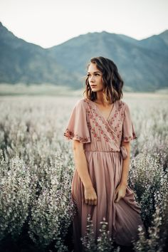 THE PARKLAND EMBROIDERED WRAP DRESS IN MAUVE// DRESSES// WOMENS CLOTHING
