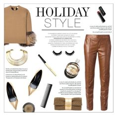 """""""Holiday Style: Leather Pants"""" by federica-m ❤ liked on Polyvore featuring Gucci, Michael Kors, Zara, Bisjoux, Joanna Maxham, Chanel, Bobbi Brown Cosmetics, Topshop, GHD and michaelkors"""