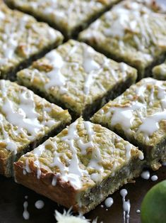 Coconut Avocado Lime Bars are sweet, chewy, dense and refreshing. Loaded with citrusy lime zest, coconut flakes, avocado and walnuts. Peas and Peonies No Bake Desserts, Dessert Recipes, Tea Recipes, Holiday Recipes, Dessert For Dinner, Dessert Bars, Danishes, Diabetic Recipes, Sweet Recipes