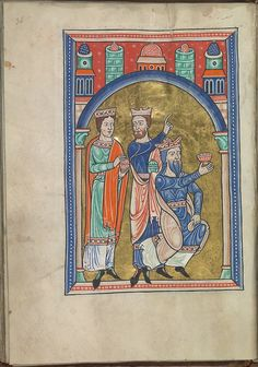 Images from the life of Christ - The three Wise Men from the adoration of the Christ-child by the Magi - Psalter of Eleanor of Aquitaine (ca. 1185) - KB 76 F 13, folium 017v.