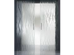 Patterned satin glass MADRAS® FILI MATE' DOUBLE FACE by Vitrealspecchi design Ivo Pellegri