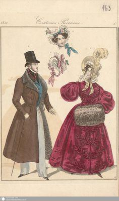 """1835, taillierter Männermantel und Mantelkleid sowie Muff für die Dame (diese hält außerdem ein Augenglas in der Hand), aus dem """"Petit courrier des dames"""""""
