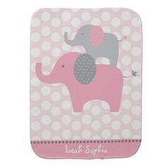 Pink Elephant Burp Cloth