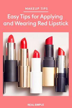Easy Tips for Wearing Red Lipstick Lipstick For Fair Skin, Natural Lipstick, Dark Lipstick, How To Apply Lipstick, Lipstick Swatches, Pink Lipsticks, How To Apply Makeup, Lipstick Colors, Lipstick Tricks