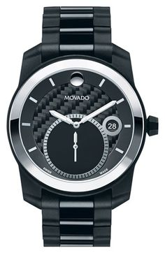 Movado 'Vizio' Tungsten Carbide Bezel Bracelet Watch, 42mm (Regular Retail Price: $2,195.00) available at #Nordstrom