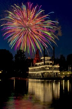Fireworks over The Mark Twain River Boat / Disneyland Fireworks Art, Wedding Fireworks, Fireworks Displays, Wishes Fireworks, Fireworks Photography, Beautiful Places, Beautiful Pictures, Fire Works, Summer Photos